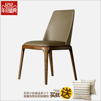 american leather chair - Northern American solid wood dining chair leather cloth chair recreational chair the ocontemporary and contracted hotel coffee