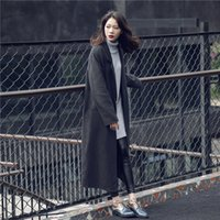 Wholesale Qiu dong han edition wool sweater long thickening in pure color long sleeve cardigan sweater coat female tide