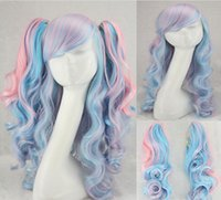 air extension clips - Europe and the United States COS wig anime lolita multicolor Thickening air volume powder mix blue tiger clip wig factor peruca Cosplay Wigs
