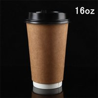 bamboo cups disposable - Double thick insulation kraft paper cup Thickening disposable hot cups oz coffee cups set with lid