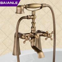 Wholesale New arrival Rain Shower Faucets with ceramic Mixer Tap Antique Brass Bath Shower Faucet Set bathtub faucet
