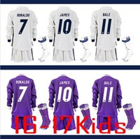 Wholesale 1617 Real madrid Kids Uniform Kit Long Sleeve Soccer Jersey RONALDO home white away Purple Black Los niños Set BALE Youth Football