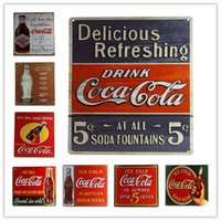 Wholesale COKE Metal Poster Tin Sign Vintage Plaques Decorative Painting Retro Signs cm