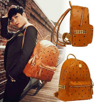 bamboo fiber men - New Arrival Fashion School Bags Hot Punk style Women Men Rivet Backpack Crown Student Backpack PU Leather Lady Bags Designer Rivet Backpack
