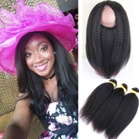 Wholesale Pre Plucked Lace Frontal Closure With Brazilian Kinky Straight Human Hair Bundles With Baby Hair Natural Hairline