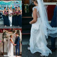 beach weddings australia - Anna Campbell Crystal Beaded V Neck Wedding Dresses Beach Boho Wedding Bridal Gowns with Bow Sash Sweep Train Australia New