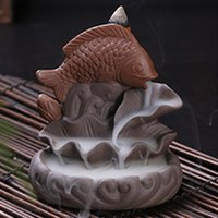 air sculptures - Handmade Home Decor Air Fresheners Beauty Sculpture Ceramic Incense Burner Smoke Backflow Holder with Tower Cone Incense A0769