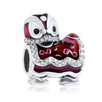 Wholesale 2016 Merry Christmas Sterling Silver Beads Dancing Lion Bead Charm With Red Enamel Fit Pandora Bracelet DIY Jewelry Making
