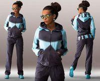 Wholesale Sports Suit Jogging Suits For Women Letter vs Pink Print Sport Suit Hoodies Sweatshirt Pant Jogging Sportswear Costume piece Set