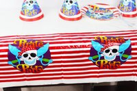 Wholesale Lovely cm disposable Birthday tablecloths Pirate Party kids happy birthday party plastic tablecover supplies