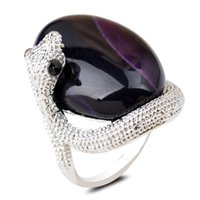 Wholesale European and American silver jewelry natural stone agate ring fashion OL popular alloy snake ring
