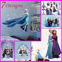 Wholesale hot movie wall stickers kids bedroom decorations cartoon film elsa anna olaf hans home decals children girls mural art