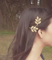 Wholesale SLXY Gold leaf headdress head flower hair accessories hairpin three dimensional retro small edge clip hairpin leaves