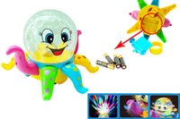 Wholesale FedEx Express Lovely Disco cartoon Octopus D ligthts universal music kid Early education puzzle toys can Rotate