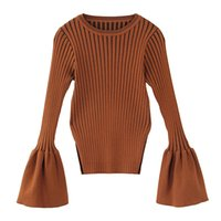 Wholesale HIGH QUALITY New Fashion Designer Sweater Women s Flare Sleeve Knitting Casual Pullover Sweater