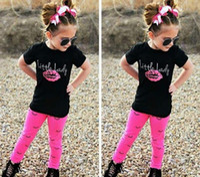 Wholesale 2017 Girls Childrens Clothing Sets Lip Printed Black Short Sleeve tshirts Pants Summer Cotton Fashion Girl Kids Clothes