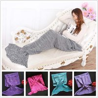 Wholesale Adult Blankets Mermaid Tail Fish Blankets Women Sleeping Bag Bedding Warm Soft Handmade Knitted Sofa Blanket A0515b