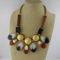 Collares ZA Wood Exaggeration Collier pendentif célèbre marque bijoux résine choker fleur shourouk Déclaration collier choker NE634