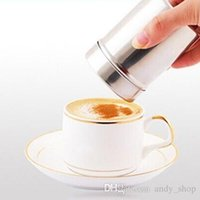Wholesale 2pcs Multifunctional Stainless Steel Chocolate Shaker Cocoa Flour Salt Powder Icing Sugar Cappuccino Coffee Sifter Lid Cooking Tools