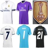 Wholesale S XL size Real Madrid Scccer Jersey RONALDO BENZEMA JAMES SERGIO RAMOS ISCO BALE Uniforms Custom fans version League patch