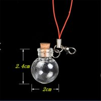 Wholesale Mini Ball Glass Bottles Pendants Key Chain Small Wishing Bottles With Cork Arts Jars For Bracelets Christmas Gifts Vial