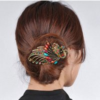 american indian dance - Amazing Palace Luxury Phoenix Peacock Hair Pin Fashion Crystal Bird Jewelry Vintage Accessories Dance Party Gift