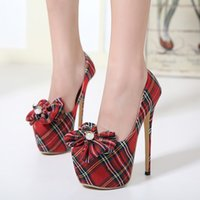 adhesive wound dressing - 17cm College Wind Fashion Scotch Red Plaid Women High Heel Platform Pumps Shoes With Bowtie Size To