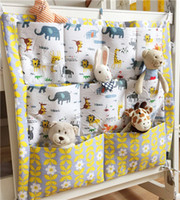 1PC storage bag bedside cribs - Baby Bedside Caddy Organzier Cotton Nursery Diaper Tote Bag Over the Bed Crib Hanging Storage Bag Multiple Pockets Nappy Toys Holder C