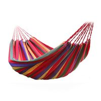 Wholesale Hammock with thick Canvas Balcony with indoor Travel Camping Swing Stripe Hang Bed