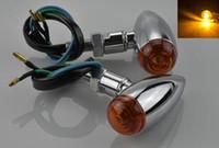 Wholesale 2x Universal Custom silver Metal Surround Motorcycle Bullet Turn Signal Light Amber Lamp For Honda Suzuki Yamaha