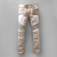 Wholesale Men s casual light brown stretch denim biker jeans Patchwork slim skinny pencil pants Long trousers