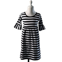 achat en gros de robes marron pour enfants-2016 Hot Sale Limited 150cm (10-12t) Brown Grossiste Baby Girl 3/4 manches Blackwhite Kid Casual coton Ruffle Dress Kids Stripe Boutique