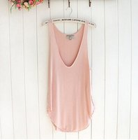 Wholesale COLORS Fashion Summer Women Ladies Sleeveless V Neck Solid Vest Loose Tank Tops T shirt