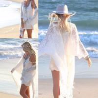 Women bamboo stitch knitting - Sexy Women s Ladies Fringe Lace Long Kimono Cardigan Tops Bikini Cover Up Blouse H34