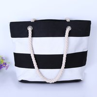 Boys beach shopping - 2017 Women Beach Canvas Bag Fashion Color Stripes Printing Handbags Ladies Large Shoulder Bag Totes Casual Shopping Bags