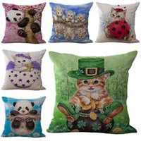 animal friendly boots - Puss in Boots Little Animal Cat Dog Tiger Pillow Case Cotton Linen Square Cushion Cover Throw Pillow cases pillowcase Sofa Bed Decor