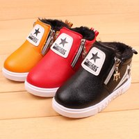 Wholesale XZ Little Kids Shoes Leather Plush Warm Flat Sneakers For Infantil Boys Zipper Easy Wear Winter Shoes For Baby Girls Stars Cute