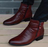 Wholesale Fashion Luxury Brand Mens Leather Boots Genuine Zipper Black Wine Red Crocodile Leather Joint Italian Designer Dress Ankle botas