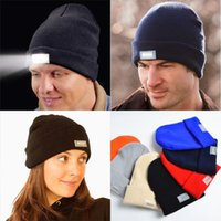 Wholesale Hot led knitted beanie hat winter warm lights LED glowing knitting caps Angling Hunting Camping Running glow hat