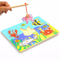 Wholesale Set Fishing board Wooden mini ocean Crab Fish Puzzle preschool magnetic fishing toy For Kids toys