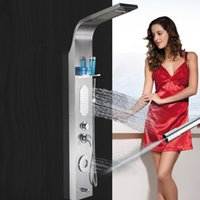Wholesale New Waterfall Luxury Shower Column Shower Panel Hand Shower Massage Jets Stainless steel Plate Faucet