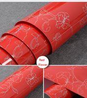 Wholesale LEFU Red flowers Bead Light paper Decorative Film PVC Selfadhesive Wallpaper stickers Kitchen Cabinet Waterproof per square meter