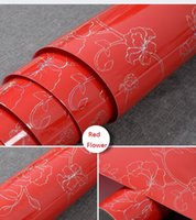 Wholesale LEFU width120cm Red flowers Bead Light paper Decorative Film PVC Selfadhesive Wallpaper stickers Kitchen Cabinet Waterproof per meter