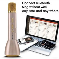 Wholesale 2017 Fashionable K088 Karaoke Microfone K Song Mini Portable Wireless Bluetooth Microphone Speaker Outdoor KTV Singing Machine