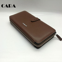 Wallets Men Credit Card CARA New arrival 100% genuine cow leather brown fashion clutch wallet mens stylish leather multifunctional clutch bag