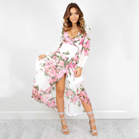 Wholesale European and American fashion dress printing irregular lace dress big spring new sexy V Neck Long Sleeve Dress
