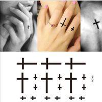 arm cross tattoo - Men And Women Finger Flash Tattoo Sticker Cross Small Pattern Design Water Transfer Tattoo Stickers Waterproof