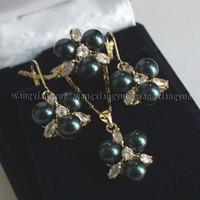 Mers du sud Prix-LIVRAISON GRATUITE nouveaux nobles bijoux de bijoux 8MM noir mer du Sud shell perle boucles d'oreilles / Ring / collier pendentif Set