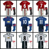 Wholesale 2016 best Thailand Quality ManUtd kids jersey home away RD jerseys UnITED Ibrahimovic MEMPHIS ROONEY POGBA kits Shirt