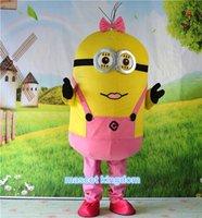 Dimensioni Rosa Dress Serventi Cattivissimo Me costume della mascotte del fumetto Abito per adulti